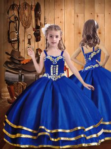 Royal Blue Ball Gowns Embroidery and Ruffled Layers Pageant Dress for Teens Lace Up Organza Sleeveless Floor Length