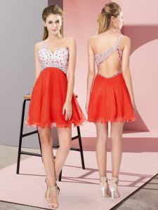 Red Homecoming Dress Prom and Party with Beading One Shoulder Sleeveless Criss Cross