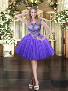 Sleeveless Mini Length Beading Zipper Homecoming Dress with Lavender