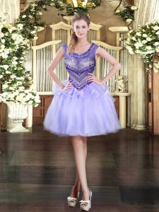 Hot Sale Lavender Organza Zipper Dress for Prom Sleeveless Mini Length Beading