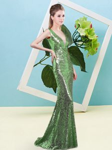 Admirable Sequins Prom Party Dress Green Zipper Sleeveless Floor Length