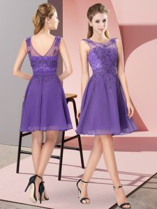 High Quality Lavender Zipper Bridesmaid Dress Appliques Sleeveless Knee Length