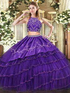 Floor Length Two Pieces Sleeveless Purple Sweet 16 Dress Zipper