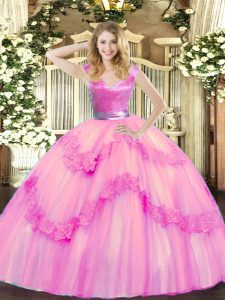 Rose Pink V-neck Zipper Beading and Appliques Quinceanera Gowns Sleeveless
