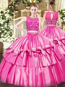 Sweet Tulle Sleeveless Floor Length 15 Quinceanera Dress and Beading and Ruffled Layers