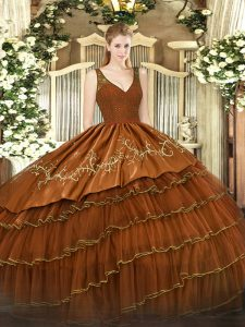 Pretty V-neck Sleeveless Vestidos de Quinceanera Floor Length Beading and Lace and Embroidery and Ruffled Layers Rust Red Organza and Taffeta