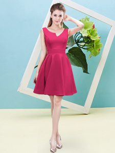 Ruching Bridesmaid Dresses Hot Pink Zipper Sleeveless Mini Length