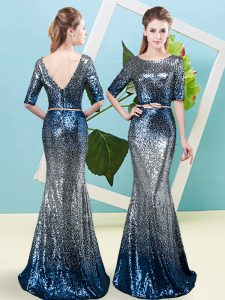Half Sleeves Sequined Floor Length Zipper in Multi-color with Sequins and Belt