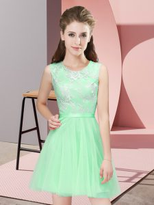 New Arrival Scoop Sleeveless Tulle Damas Dress Lace Side Zipper
