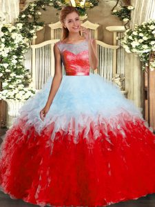 Lace and Ruffles Ball Gown Prom Dress Multi-color Backless Sleeveless Floor Length