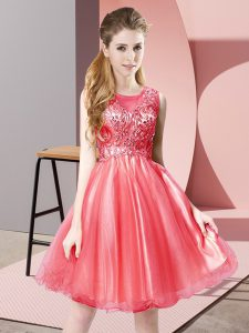 Cute Coral Red A-line Scoop Sleeveless Tulle Knee Length Zipper Beading Homecoming Dress
