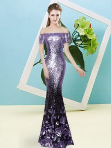 Lavender Mermaid Sequined Off The Shoulder Short Sleeves Sequins Floor Length Zipper Evening Dress