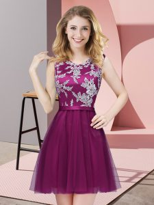 Hot Selling Scoop Sleeveless Side Zipper Bridesmaid Dress Fuchsia Tulle