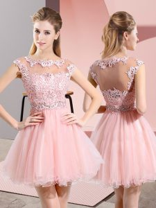 Sleeveless Tulle Knee Length Side Zipper Vestidos de Damas in Baby Pink with Beading and Lace