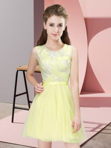 A-line Court Dresses for Sweet 16 Yellow Scoop Tulle Sleeveless Mini Length Side Zipper