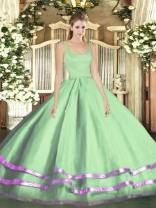 Straps Sleeveless 15 Quinceanera Dress Floor Length Ruffled Layers Apple Green Tulle