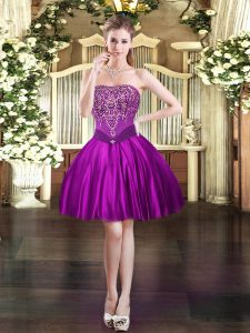 Ball Gowns Homecoming Dress Purple Strapless Satin Sleeveless Mini Length Lace Up