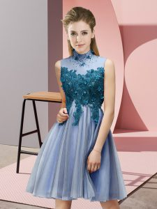 Customized Blue Lace Up High-neck Appliques Quinceanera Dama Dress Tulle Sleeveless
