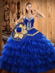 Flirting Sweetheart Sleeveless Tulle Quince Ball Gowns Embroidery and Ruffled Layers Lace Up