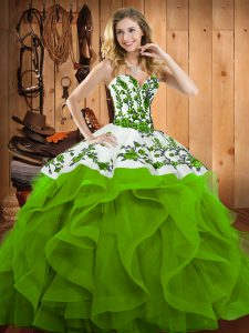 Suitable Floor Length Sweet 16 Dress Satin and Organza Sleeveless Embroidery and Ruffles