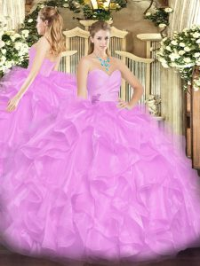 Custom Made Floor Length Lace Up Sweet 16 Quinceanera Dress Lilac for Military Ball and Sweet 16 and Quinceanera with Beading and Ruffles