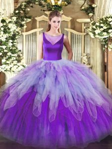 Colorful Ball Gowns 15th Birthday Dress Multi-color Scoop Organza Sleeveless Floor Length Side Zipper
