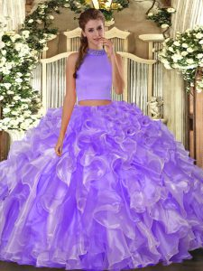 Low Price Halter Top Sleeveless Backless Sweet 16 Quinceanera Dress Lavender Organza