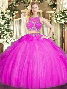 Wonderful Floor Length Fuchsia Sweet 16 Dress Tulle Sleeveless Beading and Ruffles