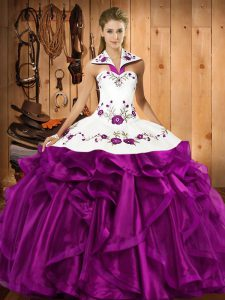 Pretty Floor Length Eggplant Purple Quinceanera Dress Halter Top Sleeveless Lace Up