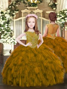 Brown Pageant Dress Party and Quinceanera with Beading and Ruffles Scoop Sleeveless Zipper