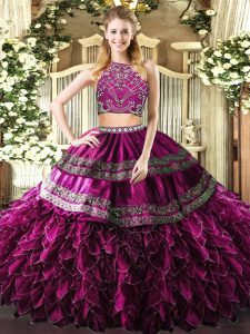 Floor Length Fuchsia 15th Birthday Dress Tulle Sleeveless Beading and Ruffles