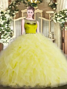 Discount Yellow Scoop Neckline Beading and Ruffles Quinceanera Gowns Sleeveless Zipper