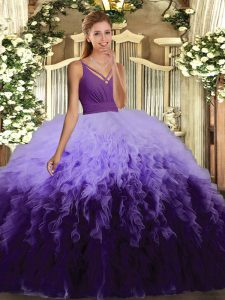 Customized Multi-color Backless Ball Gown Prom Dress Ruffles Sleeveless Floor Length