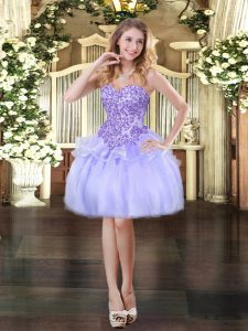 Designer Lavender Ball Gowns Sweetheart Sleeveless Organza Mini Length Lace Up Appliques Prom Dresses