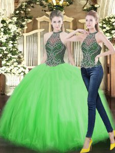 Classical High-neck Neckline Beading Quinceanera Dresses Sleeveless Lace Up