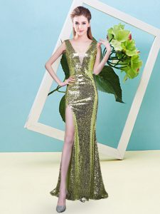 Elegant Floor Length Yellow Green Prom Gown V-neck Sleeveless Zipper