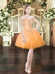 Low Price Mini Length Orange Red Tulle Sleeveless Beading