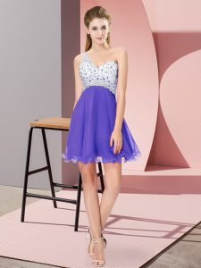 Cute One Shoulder Sleeveless Chiffon Homecoming Dress Beading Criss Cross