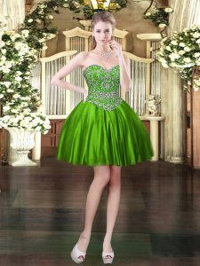 Comfortable Sweetheart Sleeveless Lace Up Dress for Prom Green Satin