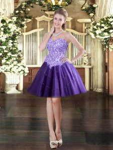 Wonderful Sleeveless Mini Length Appliques Lace Up Evening Dress with Purple