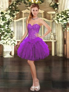 Organza Sweetheart Sleeveless Lace Up Beading and Ruffles Evening Dress in Purple
