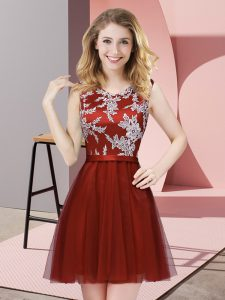 Glorious Tulle Sleeveless Mini Length Court Dresses for Sweet 16 and Lace