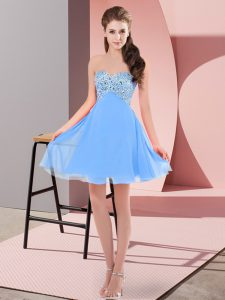 Cheap Empire Homecoming Dress Baby Blue Sweetheart Chiffon Sleeveless Mini Length Lace Up