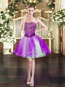 Glamorous Purple Lace Up Prom Party Dress Beading Sleeveless Mini Length