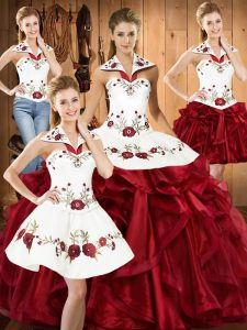 Fitting Wine Red Sleeveless Embroidery and Ruffles Floor Length Quinceanera Dress