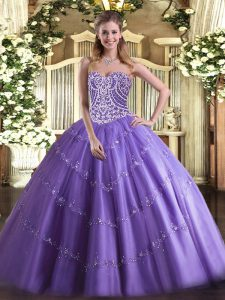 Lavender Sleeveless Tulle Lace Up 15 Quinceanera Dress for Military Ball and Sweet 16 and Quinceanera