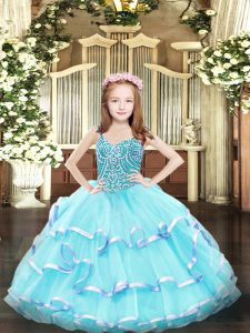 Aqua Blue Kids Pageant Dress Party and Quinceanera with Beading and Ruffled Layers Straps Sleeveless Lace Up