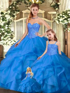 Best Selling Blue Sweetheart Neckline Beading and Ruffles Quinceanera Dress Sleeveless Lace Up