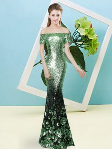 Short Sleeves Zipper Floor Length Sequins