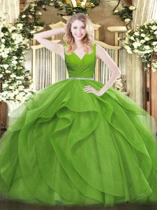 Fantastic Zipper Quinceanera Gown Beading and Ruffles Sleeveless Floor Length